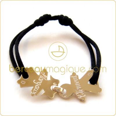 bracelet cordon maman avec 2 enfants argent massif maman poussinou blog lifestyle pr s de. Black Bedroom Furniture Sets. Home Design Ideas