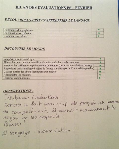 évaluations Petite Section
