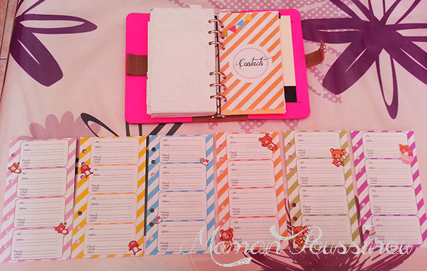 feuillets contacts filofax