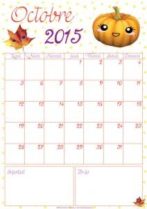 DIY : le calendrier du mois d'octobre 2015 à imprimer