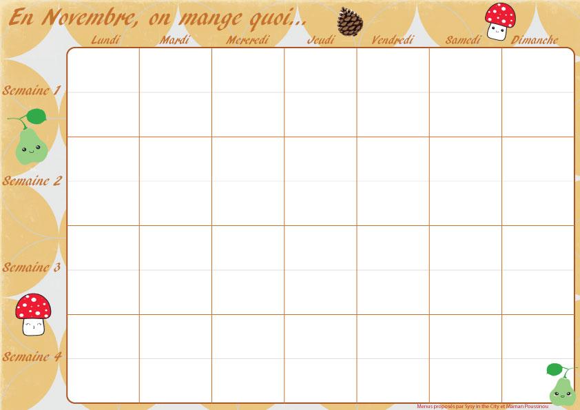 Exceptionnel Planning des menus mensuels de novembre à imprimer TB67