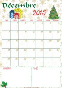 DIY : le calendrier du mois de décembre 2015 à imprimer