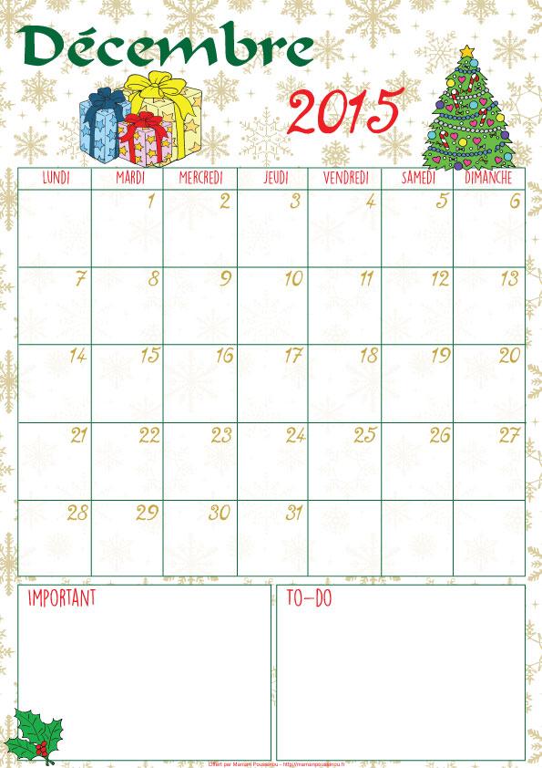 Calendrier du mois de décembre 2015 à imprimer,