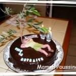 Un gâteau au chocolat pour fêter un aniversaire et la retraite