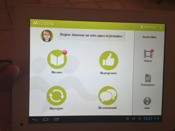 tablette ECOLEMS page d'accueil application