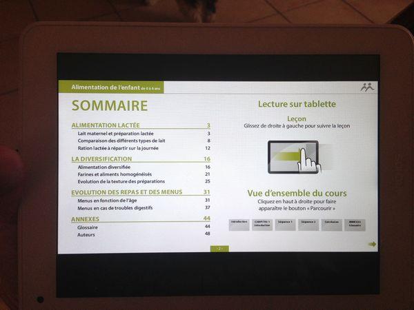 tablette ECOLEMS aperçu cours