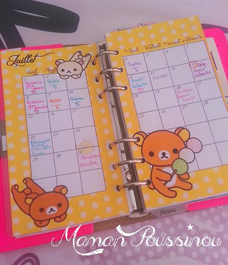 calendrier mensuel filofax