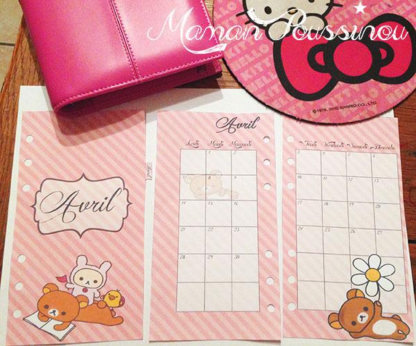 DIY : Le mois d'avril sur deux pages et un intercalaire mensuel à imprimer pour vos agendas (filofax) #4