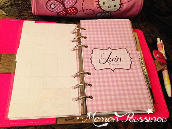 DIY : Le mois de juin sur deux pages et un intercalaire mensuel à imprimer pour vos agendas (filofax) #6