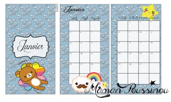 DIY : Les mois de janvier, février et mars sur deux pages et leur intercalaire mensuel à imprimer pour ton agenda (filofax) #11