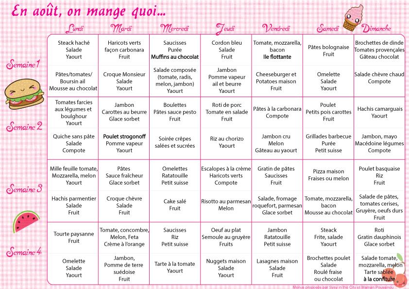 En août, on mange quoi ? – menus mensuels #1