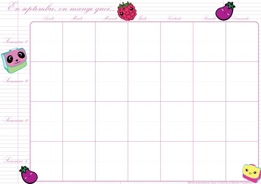 Planning Des Menus Mensuels De Septembre A Imprimer
