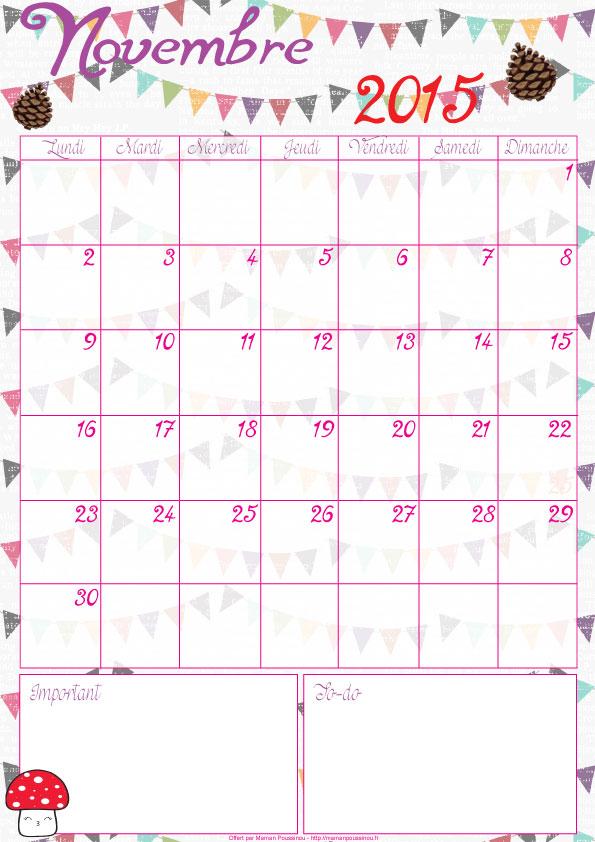 DIY : le calendrier du mois de novembre 2015 à imprimer