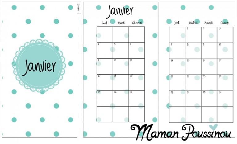 DIY : Les mois de janvier, février et mars 2016 sur deux pages et leur intercalaire mensuel à imprimer pour ton agenda (filofax) #15