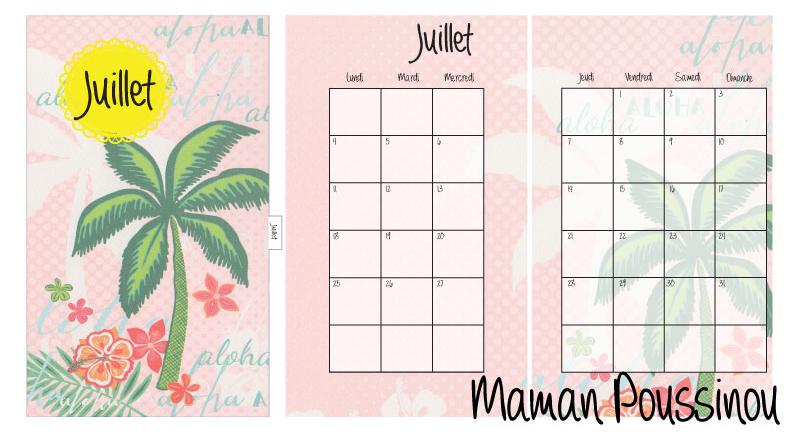 DIY : Les mois de juillet, août et septembre 2016 sur deux pages et leur intercalaire mensuel à imprimer pour ton agenda (filofax, Kikki K and co) #17