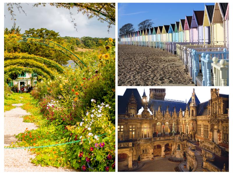 Jardins de Claude Monet - cabanes de plage - Palais Bénédictine à Fécamp